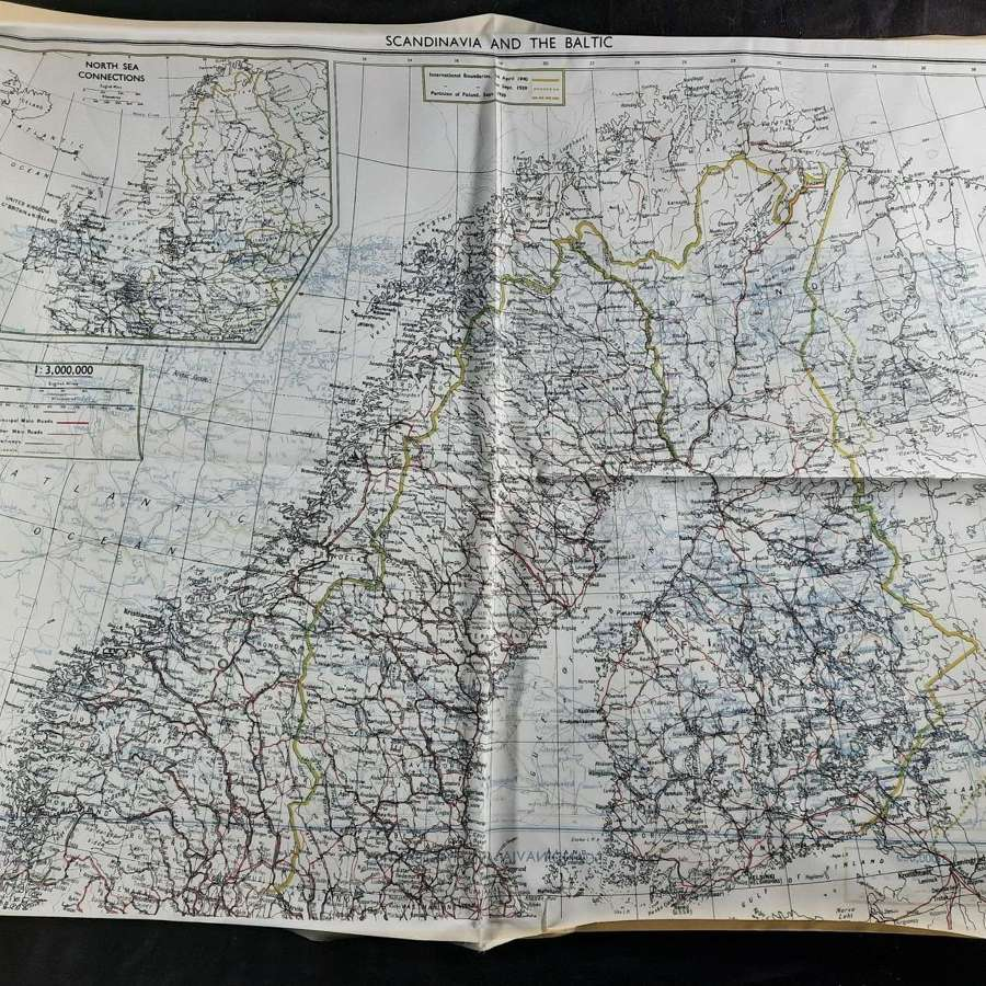 RAF Bartholomew Escape Map Scandinavia and the Baltic
