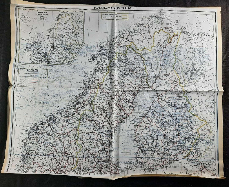 RAF Bartholomew Escape Map Scandinavia and the Baltic