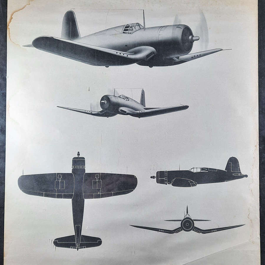 Original WW2 F4U Corsair USAAF Recognition Poster