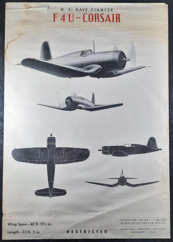 Original WW2 F4U Corsair USAAF Recognition Poster