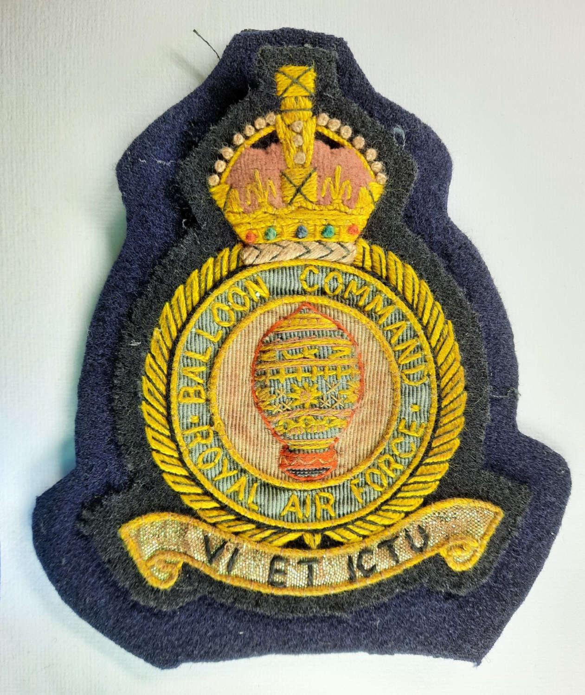 WW2 RAF Balloon Command Blazer Badge