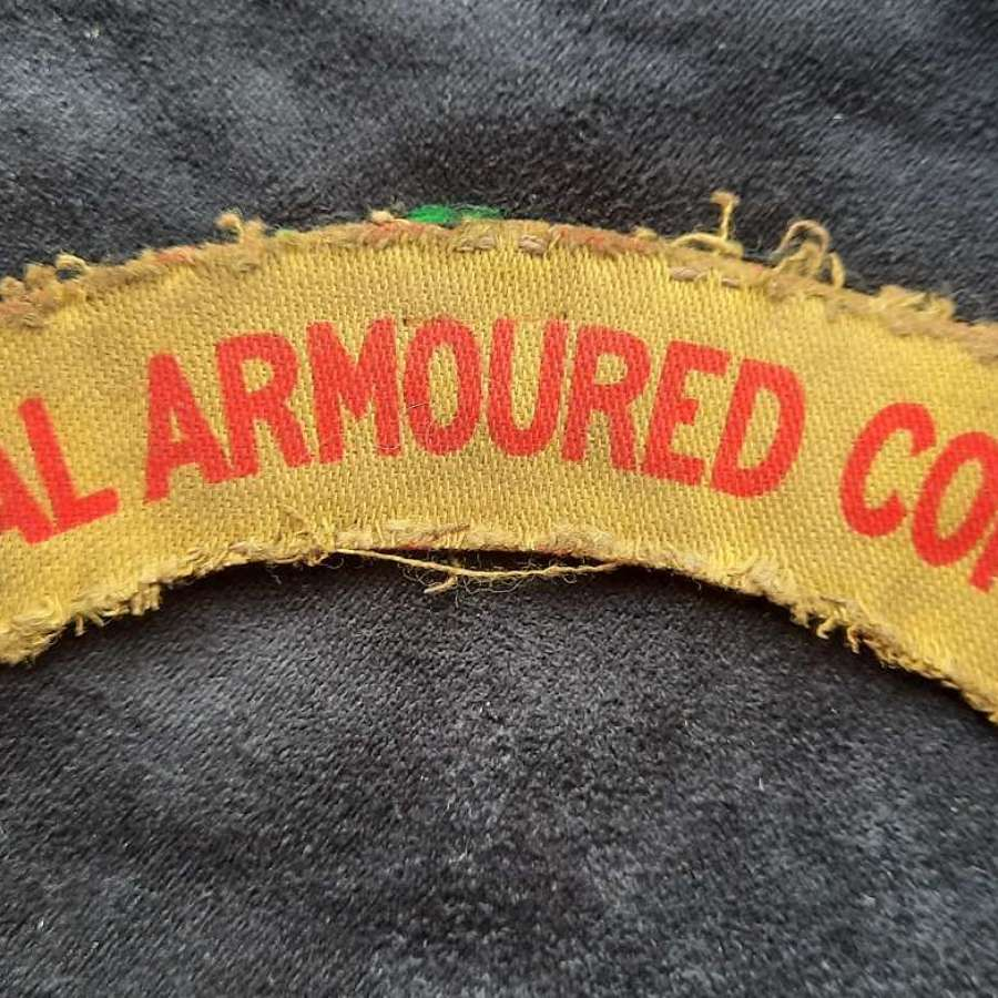 Royal Armoured Corps Printed Shoulder Title