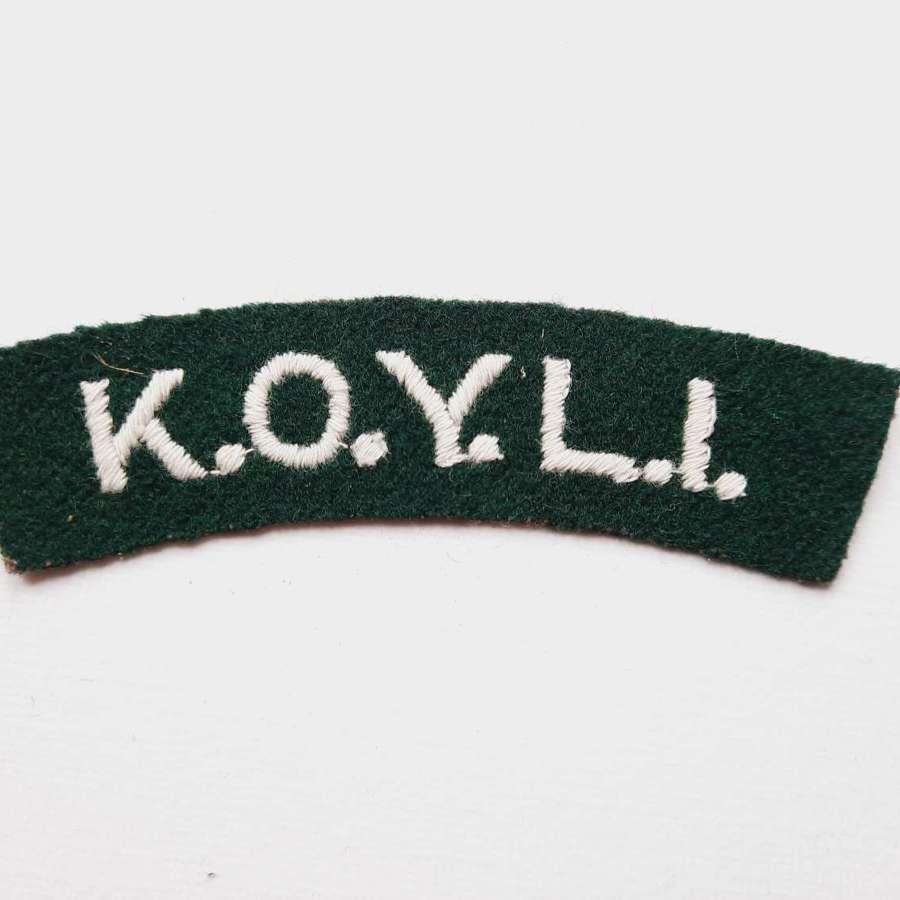 King's Own Yorkshire Light Infantry Shoulder Title