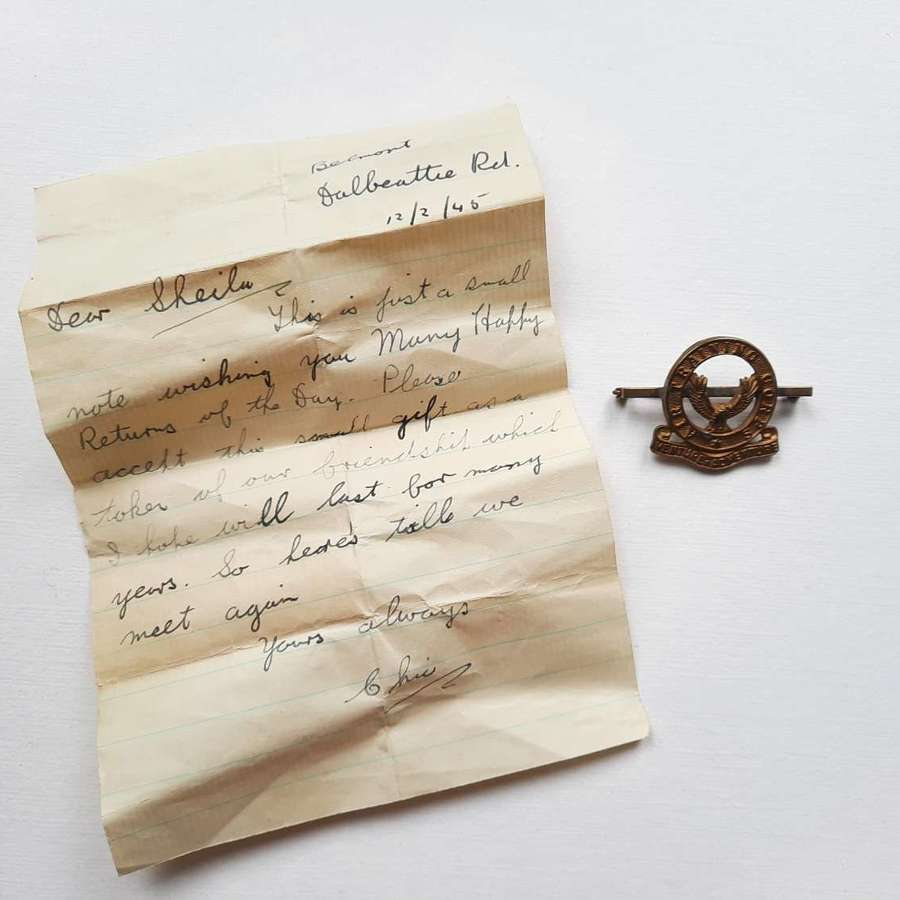 WW2 ATC Brooch and Letter